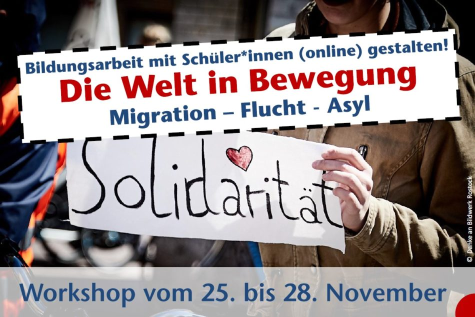 """Titelgrafik Weiterbildung """"Die Welt in Bewegung - Migration, Flucht, Asyl"""""""